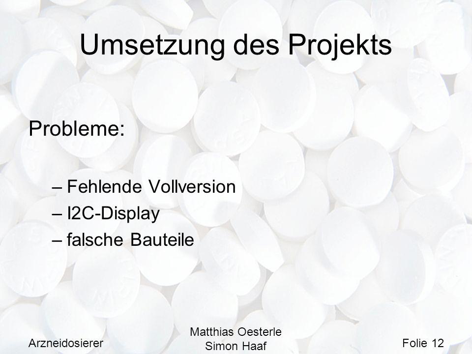 Umsetzung des Projekts