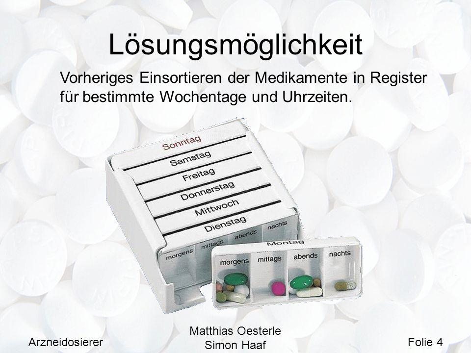 Lösungsmöglichkeit Vorheriges Einsortieren der Medikamente in Register für bestimmte Wochentage und Uhrzeiten.