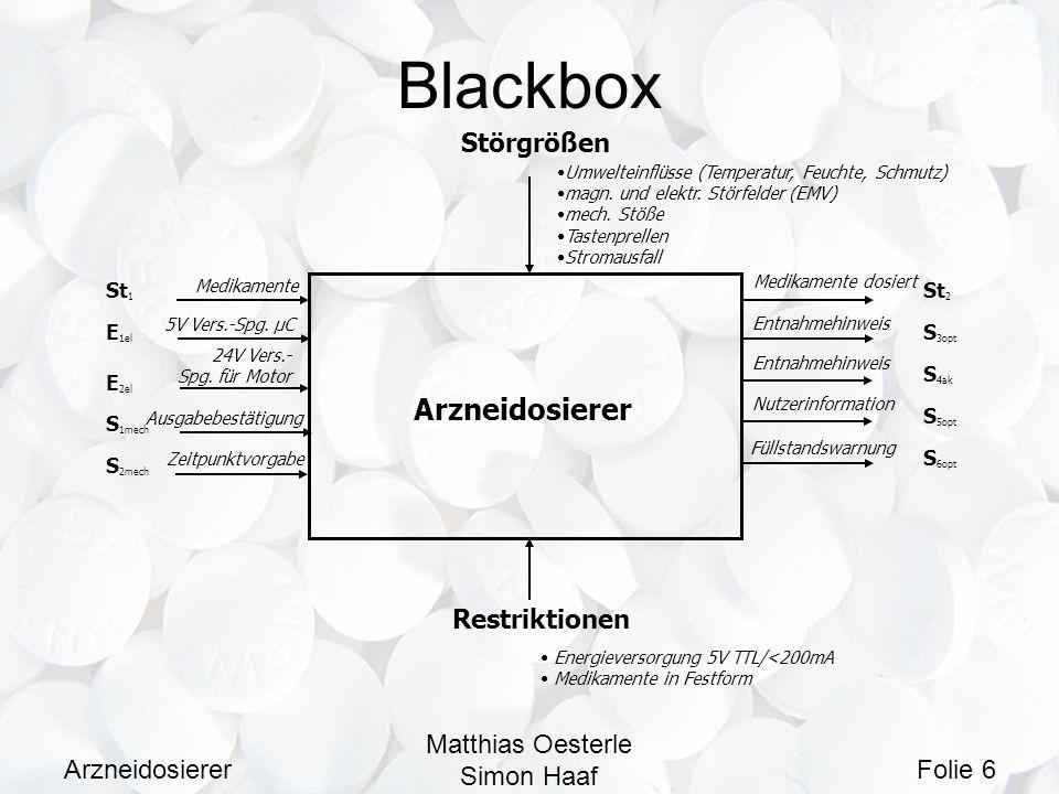 Blackbox Arzneidosierer Störgrößen Restriktionen Matthias Oesterle