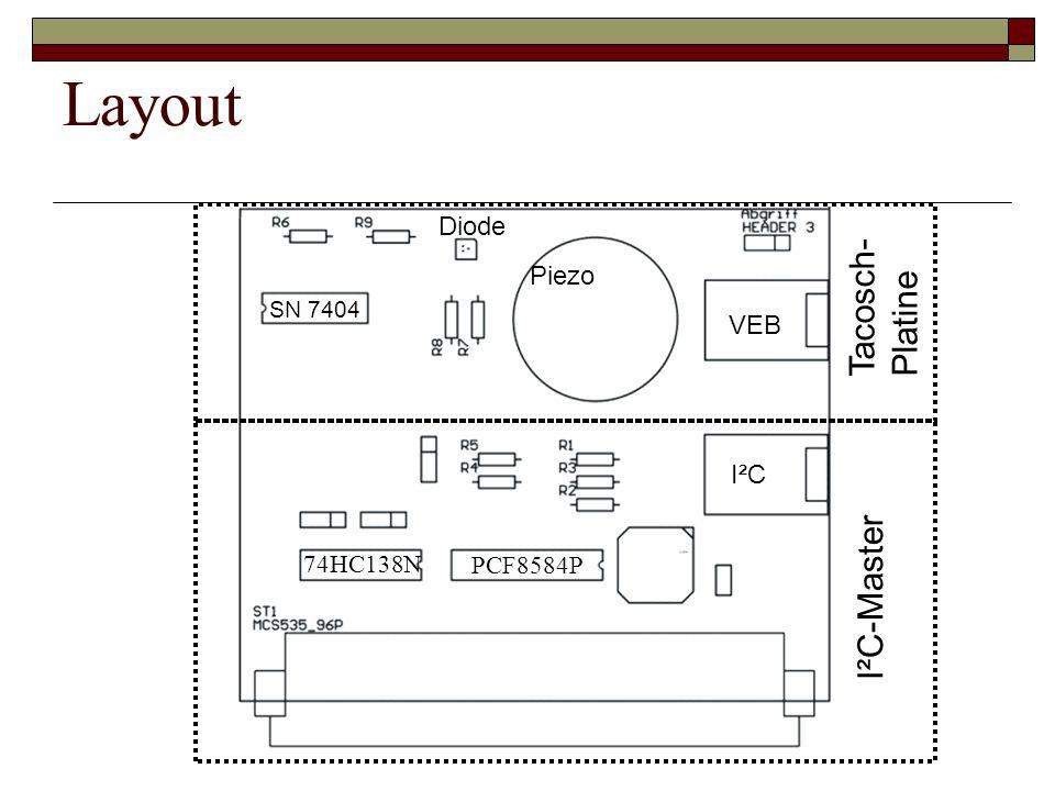 Layout Tacosch- Platine I²C-Master Diode Piezo VEB I²C 74HC138N