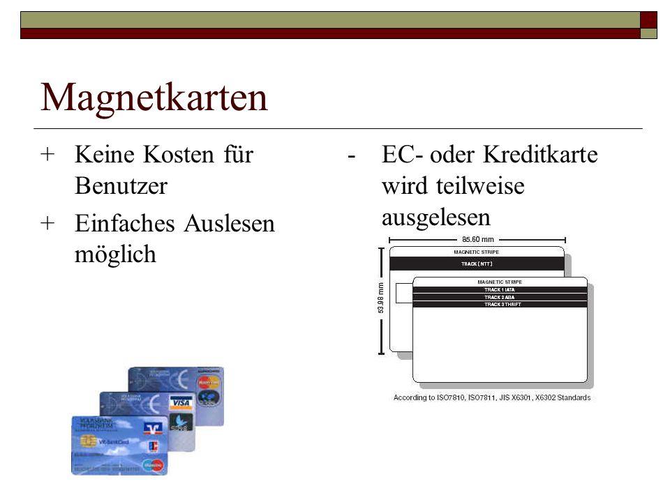 Magnetkarten + Keine Kosten für Benutzer + Einfaches Auslesen möglich