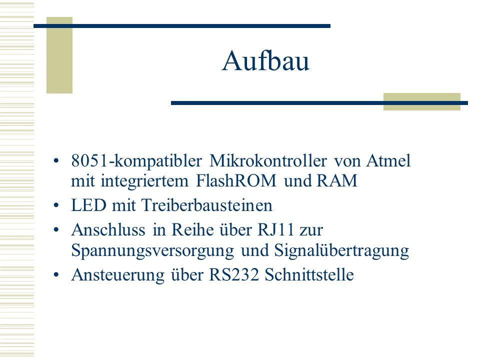 Aufbau 8051-kompatibler Mikrokontroller von Atmel mit integriertem FlashROM und RAM. LED mit Treiberbausteinen.
