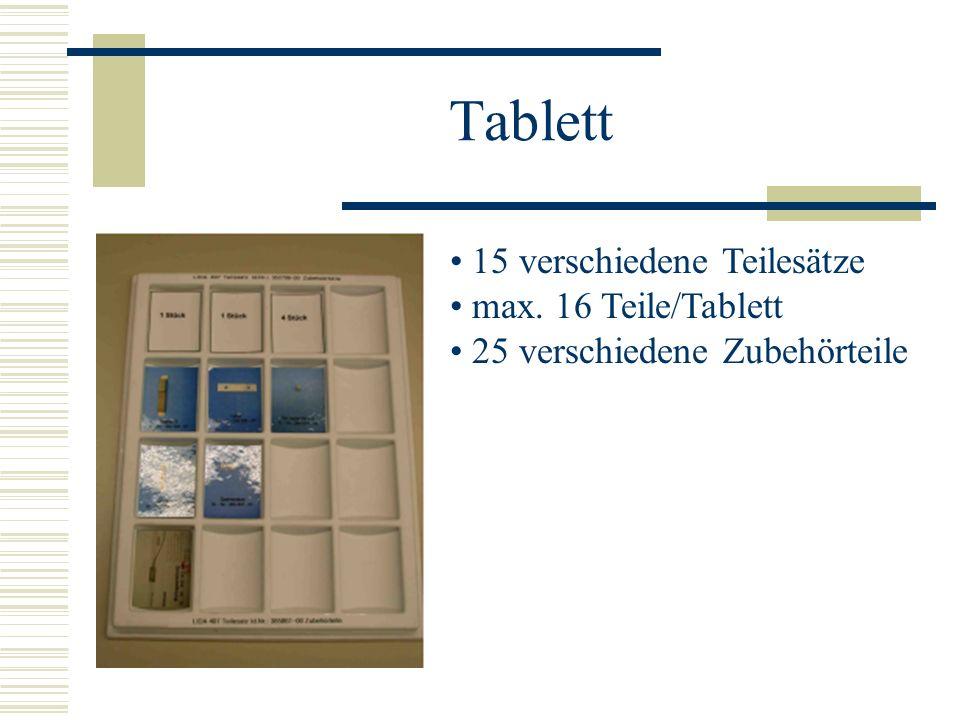 Tablett 15 verschiedene Teilesätze max. 16 Teile/Tablett