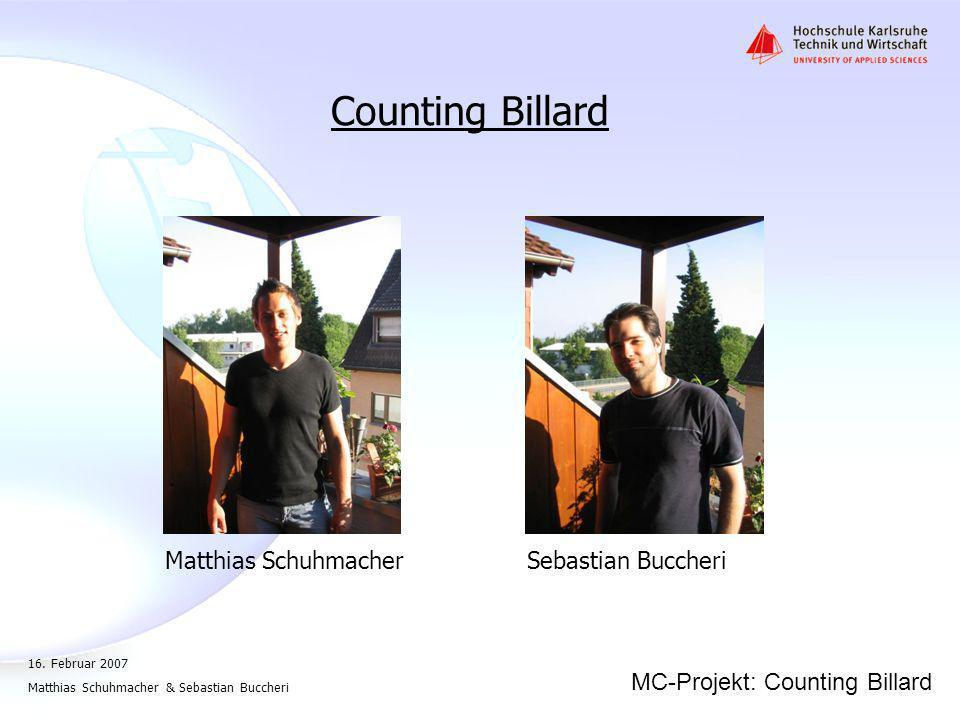 Counting Billard Matthias Schuhmacher Sebastian Buccheri