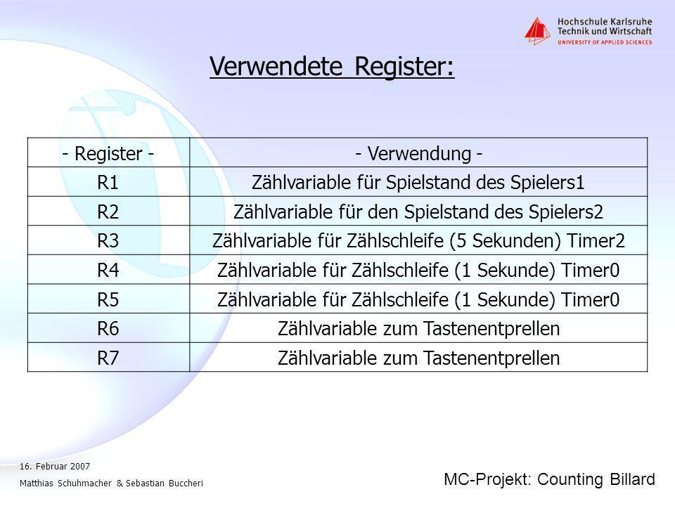 Verwendete Register: - Register - - Verwendung - R1