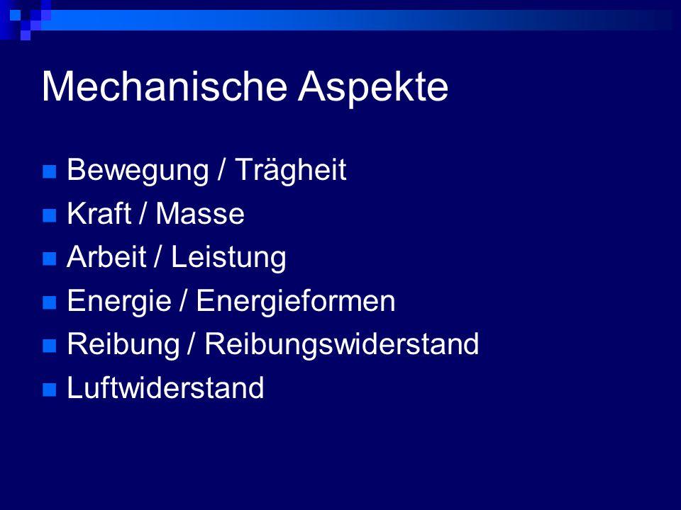 Mechanische Aspekte Bewegung / Trägheit Kraft / Masse
