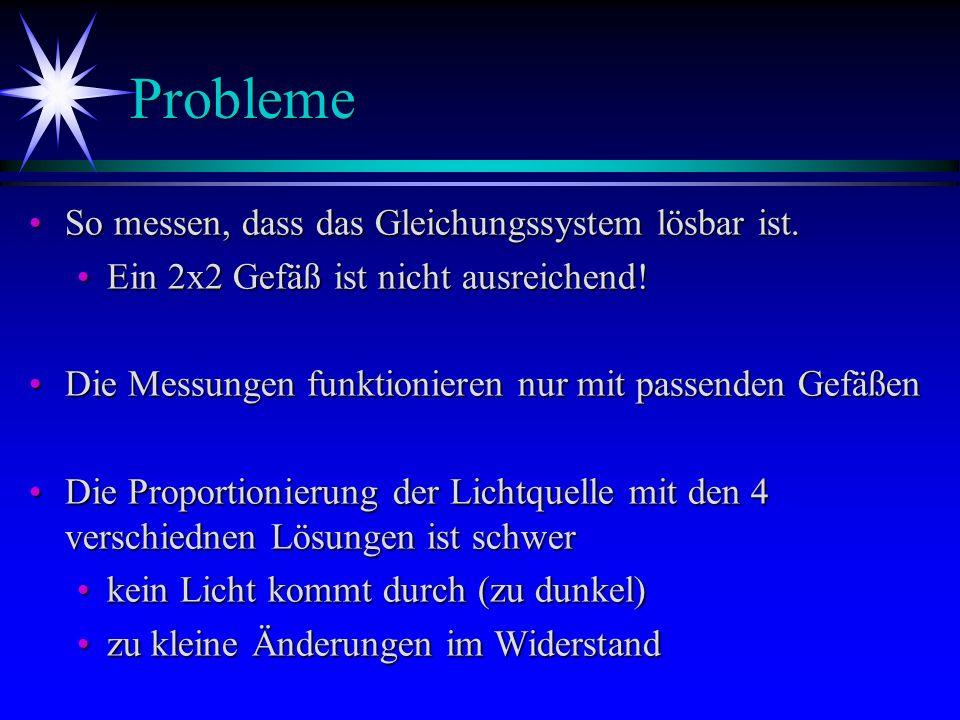 Probleme So messen, dass das Gleichungssystem lösbar ist.