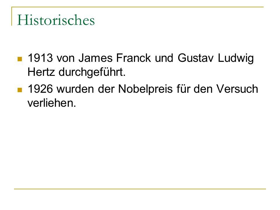 Historisches 1913 von James Franck und Gustav Ludwig Hertz durchgeführt.