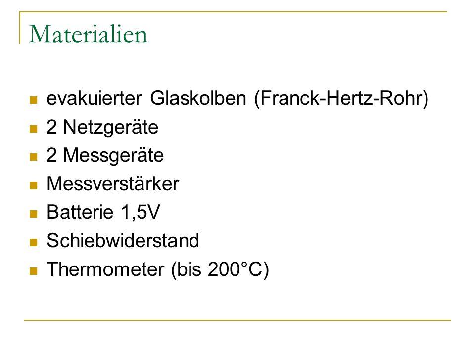 Materialien evakuierter Glaskolben (Franck-Hertz-Rohr) 2 Netzgeräte