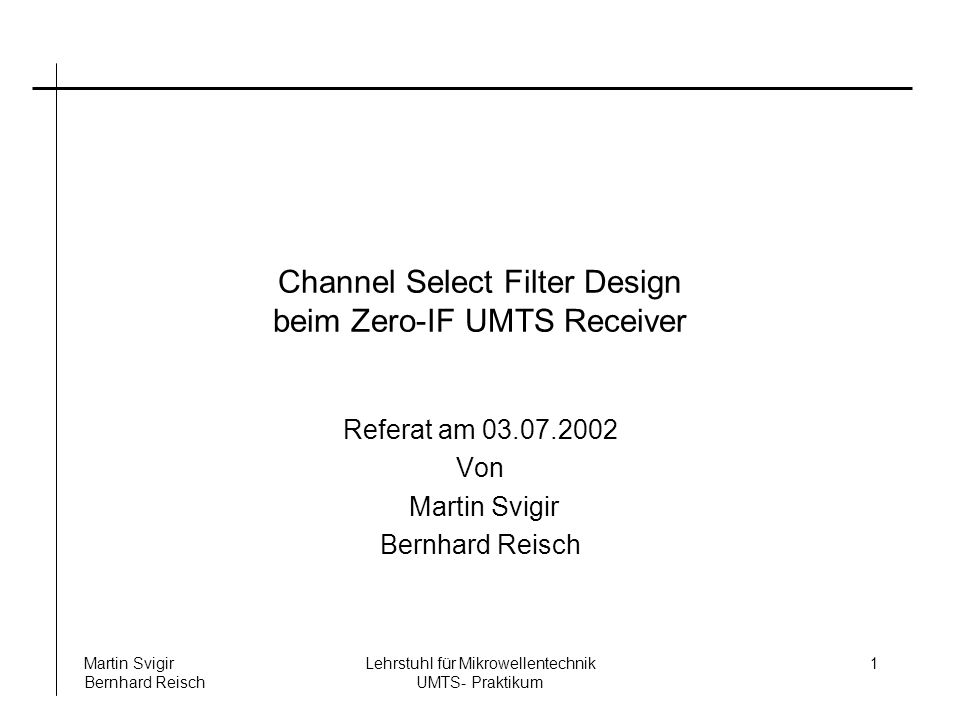 Channel Select Filter Design beim Zero-IF UMTS Receiver