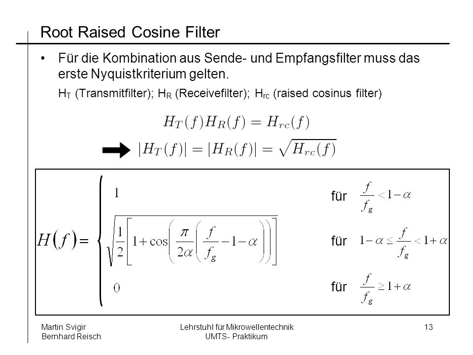 Root Raised Cosine Filter