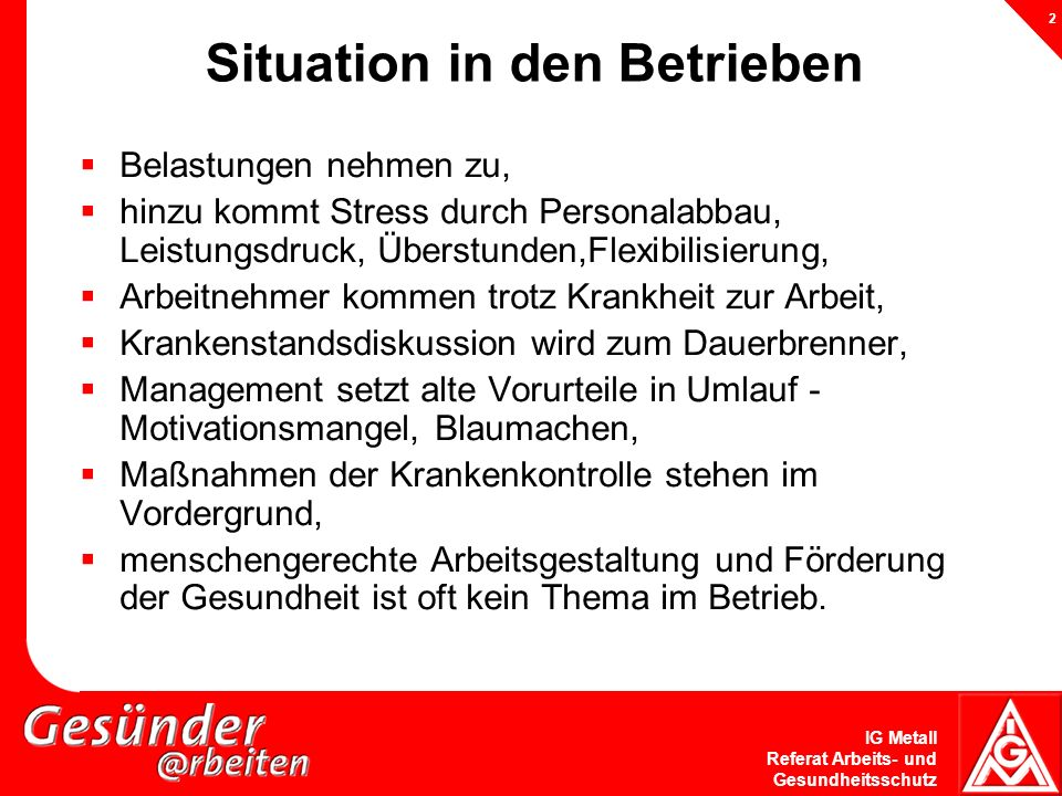 Situation in den Betrieben