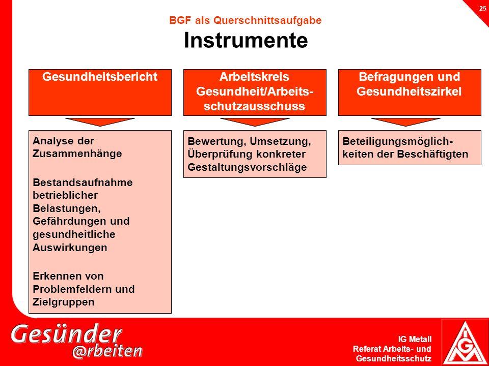BGF als Querschnittsaufgabe Instrumente