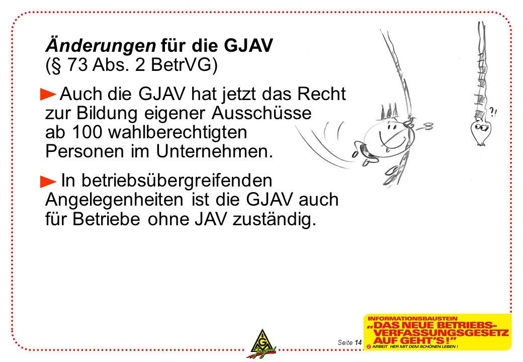 Änderungen für die GJAV (§ 73 Abs. 2 BetrVG)