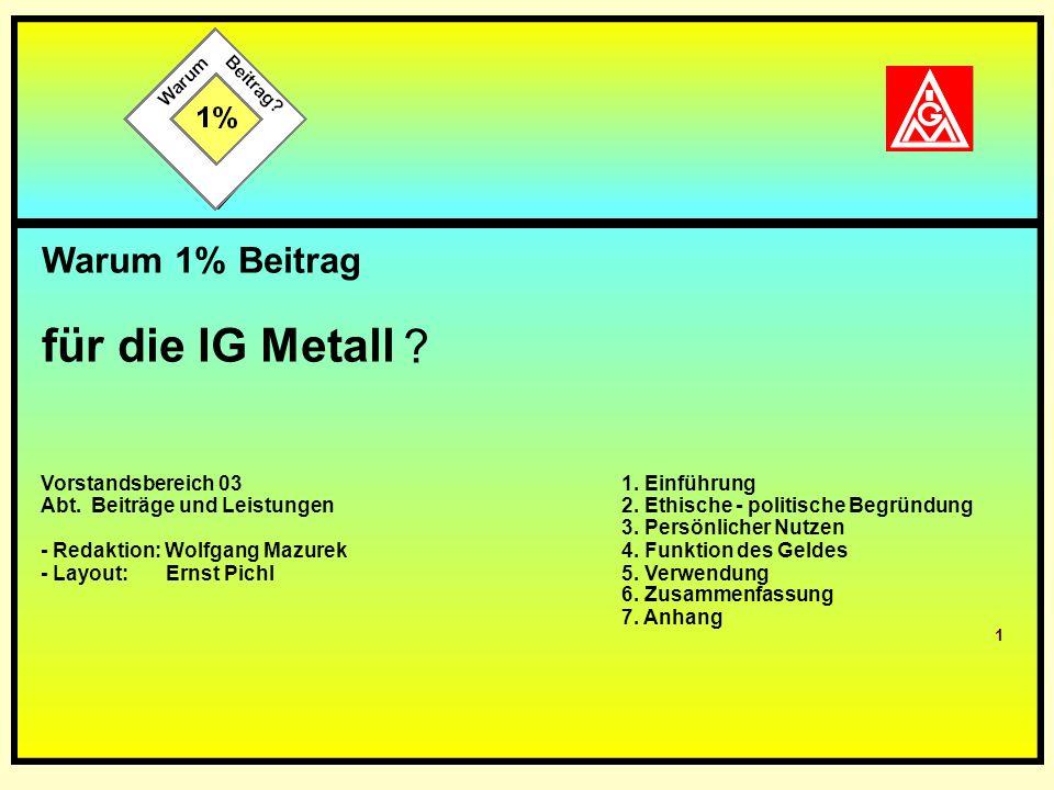 Teil 1: Warum 1 % Beitrag für die IG Metall