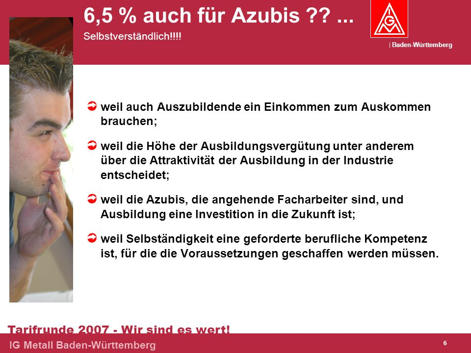 6,5 % auch für Azubis ... Selbstverständlich!!!!