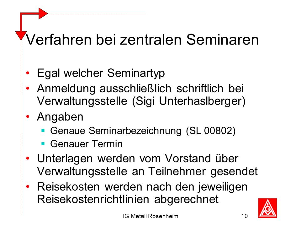 Verfahren bei zentralen Seminaren