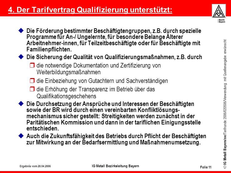 4. Der Tarifvertrag Qualifizierung unterstützt: