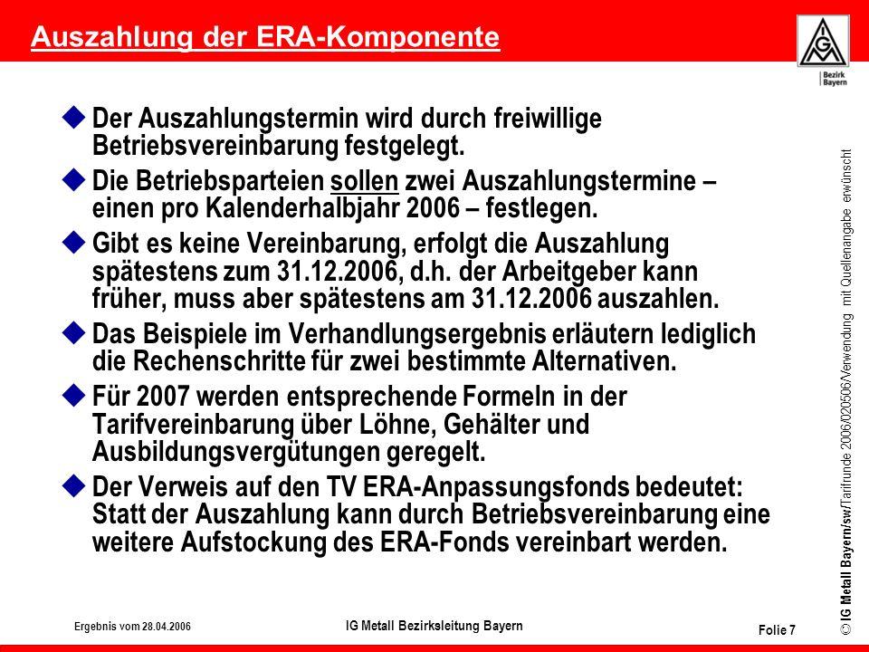 Auszahlung der ERA-Komponente