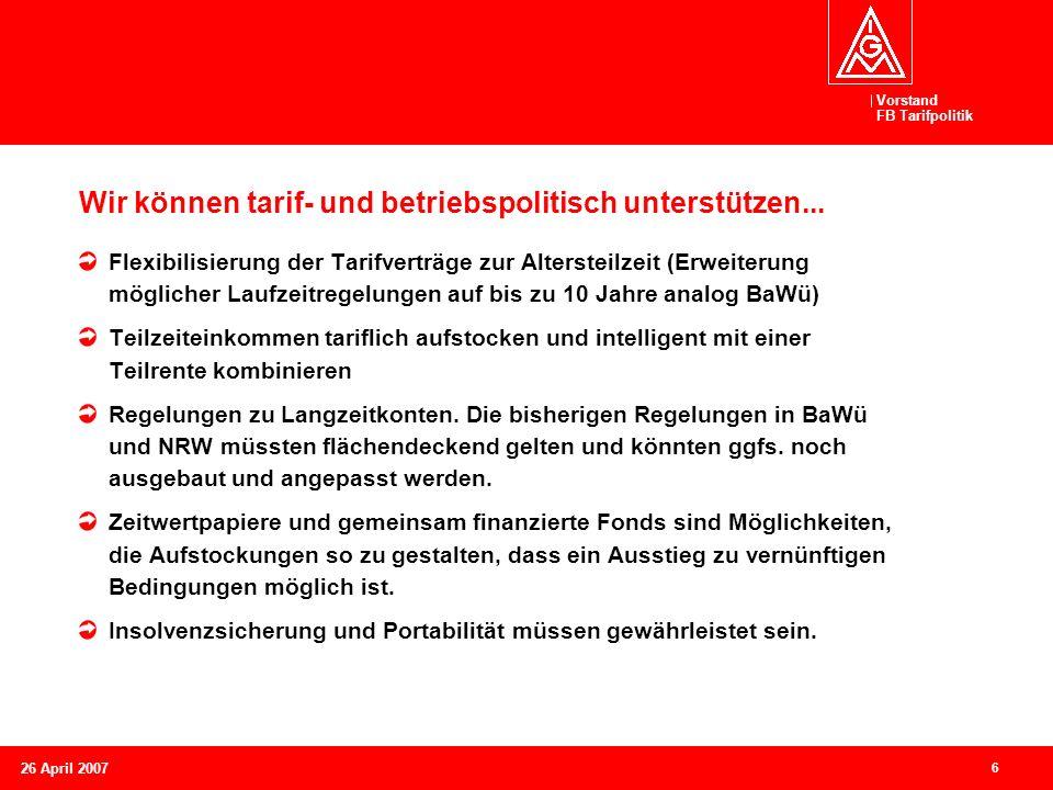 Wir können tarif- und betriebspolitisch unterstützen...