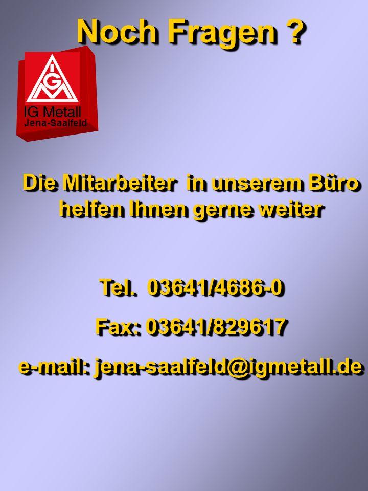 Noch Fragen Die Mitarbeiter in unserem Büro helfen Ihnen gerne weiter. Tel. 03641/4686-0. Fax: 03641/829617.