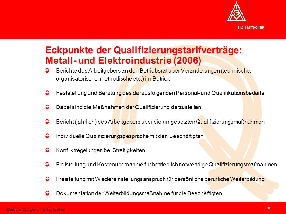 Eckpunkte der Qualifizierungstarifverträge: Metall- und Elektroindustrie (2006)