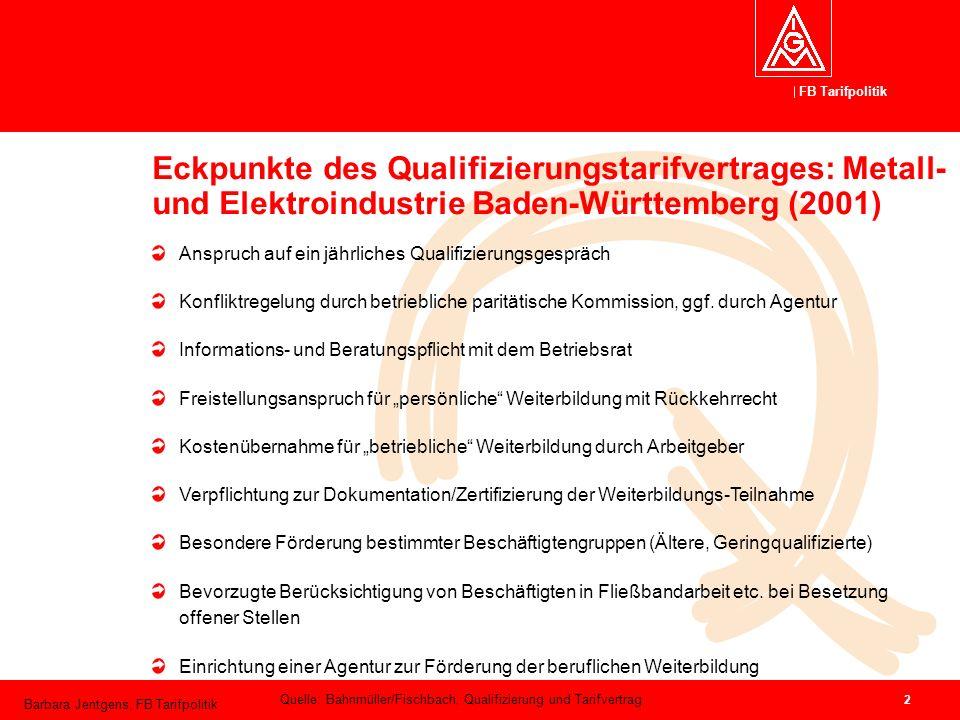 Eckpunkte des Qualifizierungstarifvertrages: Metall- und Elektroindustrie Baden-Württemberg (2001)