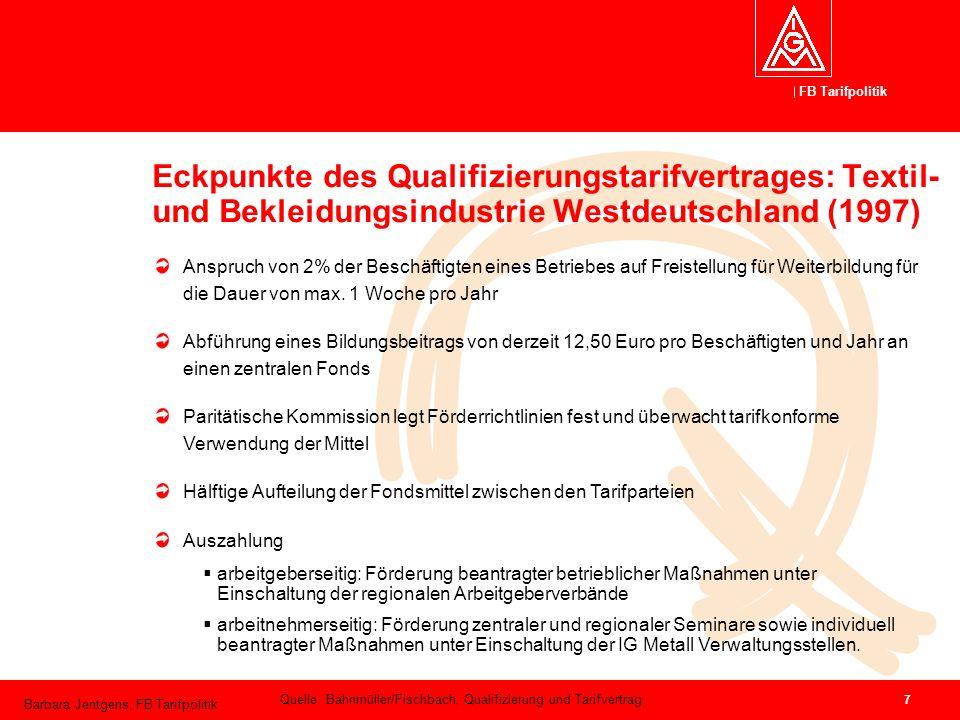Eckpunkte des Qualifizierungstarifvertrages: Textil- und Bekleidungsindustrie Westdeutschland (1997)