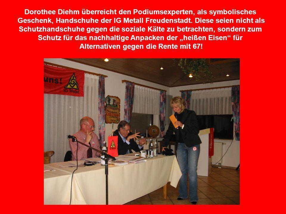 Dorothee Diehm überreicht den Podiumsexperten, als symbolisches