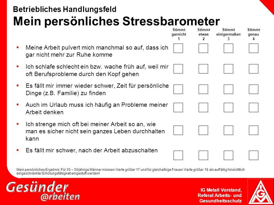 Betriebliches Handlungsfeld Mein persönliches Stressbarometer