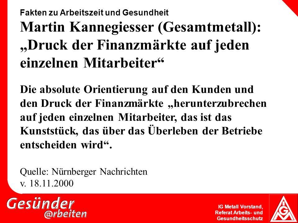"""Fakten zu Arbeitszeit und Gesundheit Martin Kannegiesser (Gesamtmetall): """"Druck der Finanzmärkte auf jeden einzelnen Mitarbeiter"""