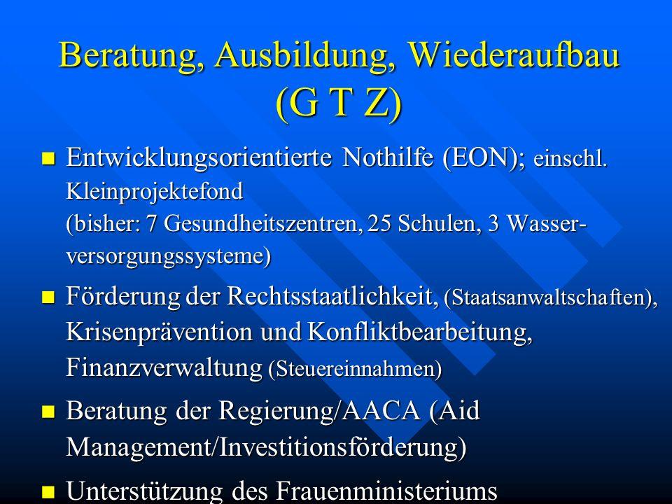 Beratung, Ausbildung, Wiederaufbau (G T Z)
