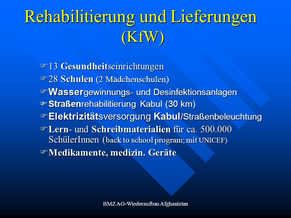 Rehabilitierung und Lieferungen (KfW)