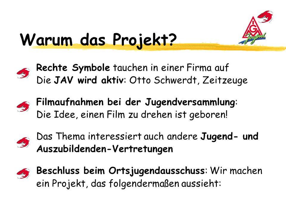 Warum das Projekt Rechte Symbole tauchen in einer Firma auf Die JAV wird aktiv: Otto Schwerdt, Zeitzeuge.