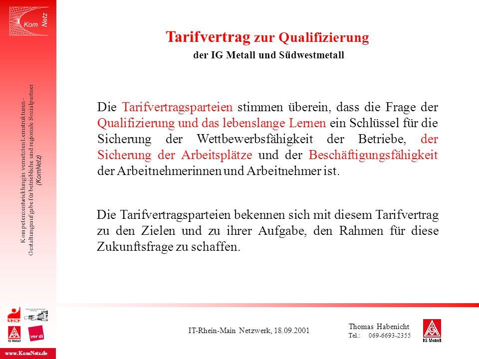 Tarifvertrag zur Qualifizierung der IG Metall und Südwestmetall