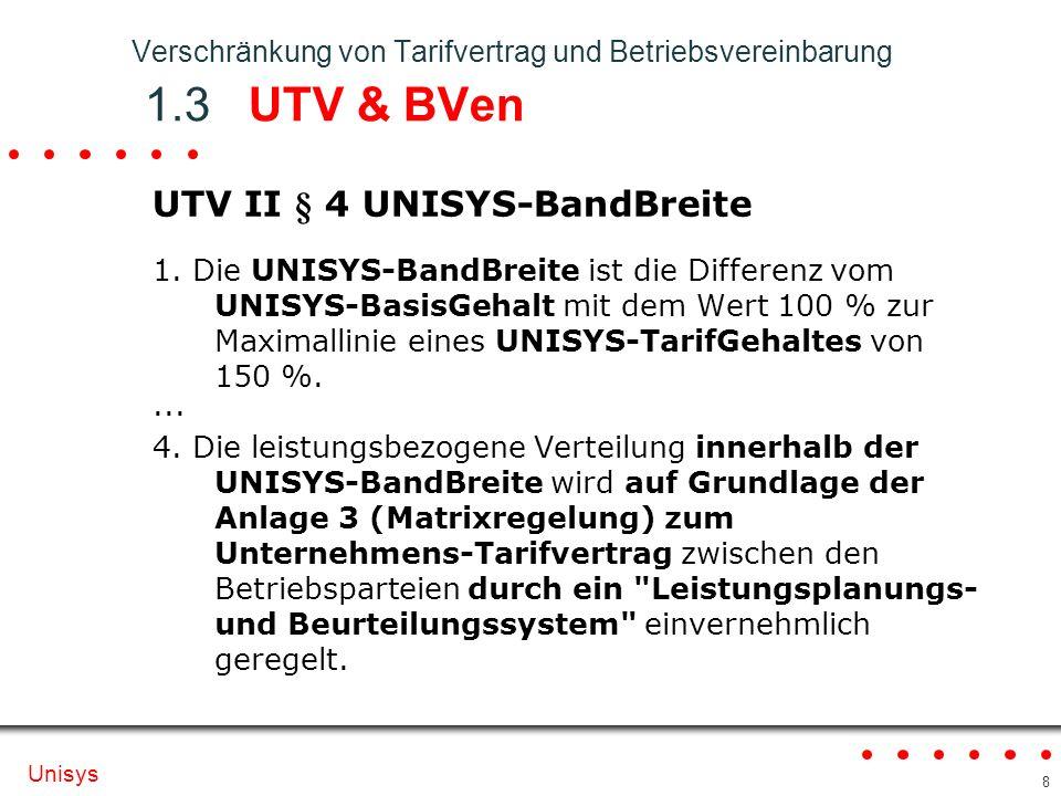 Verschränkung von Tarifvertrag und Betriebsvereinbarung 1.3 UTV & BVen
