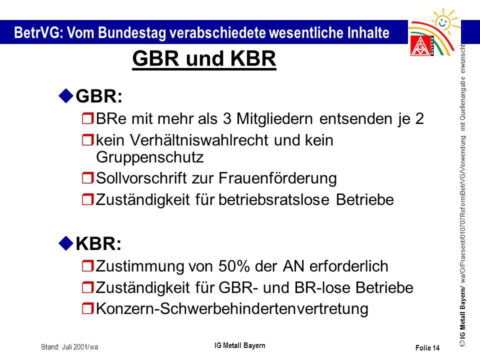 GBR und KBR GBR: KBR: BRe mit mehr als 3 Mitgliedern entsenden je 2