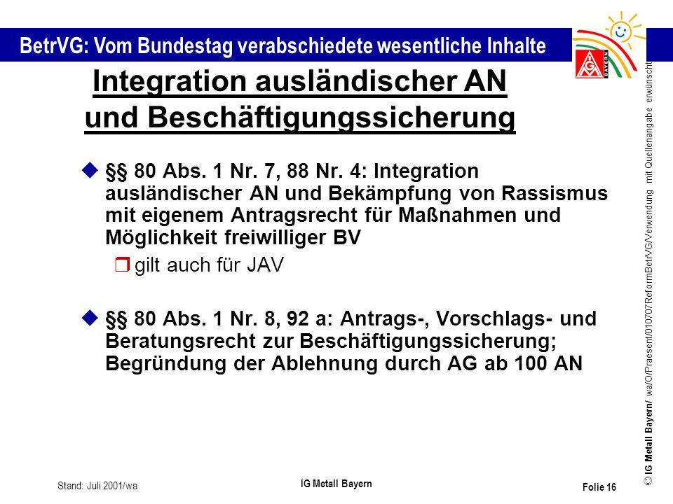 Integration ausländischer AN und Beschäftigungssicherung