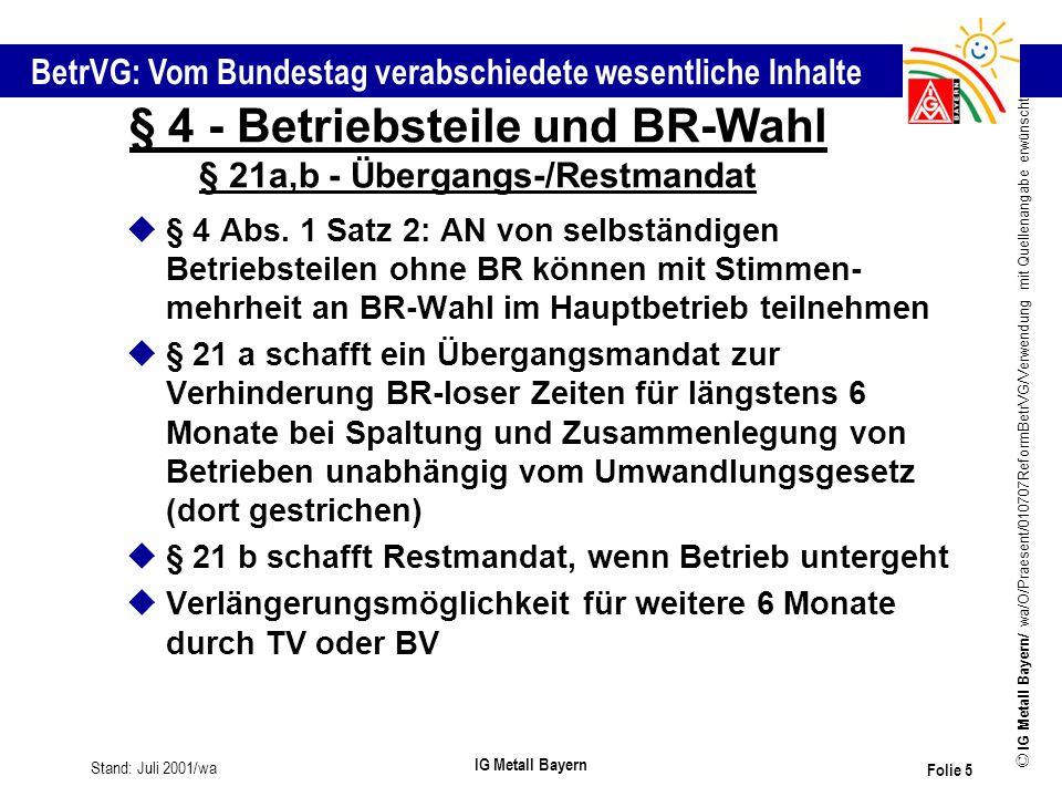 § 4 - Betriebsteile und BR-Wahl § 21a,b - Übergangs-/Restmandat