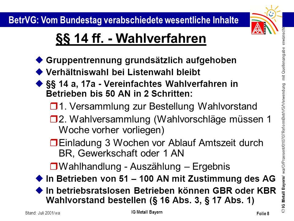 §§ 14 ff. - Wahlverfahren 1. Versammlung zur Bestellung Wahlvorstand
