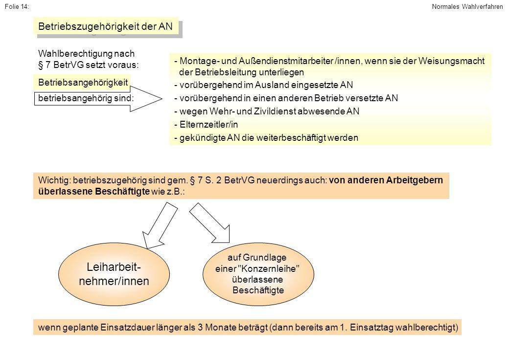 Leiharbeit- nehmer/innen Betriebszugehörigkeit der AN