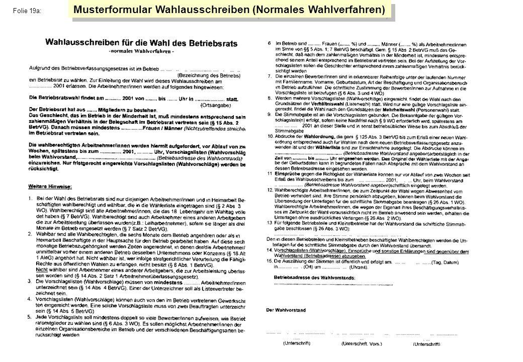 Musterformular Wahlausschreiben (Normales Wahlverfahren)