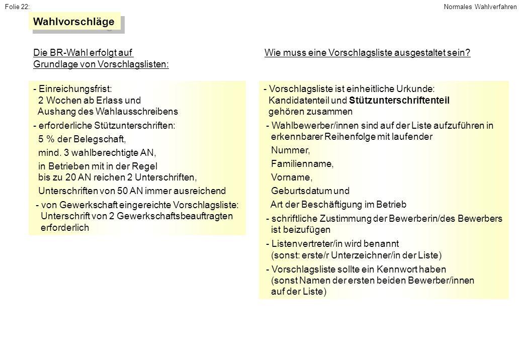 Wahlvorschläge Die BR-Wahl erfolgt auf Grundlage von Vorschlagslisten: