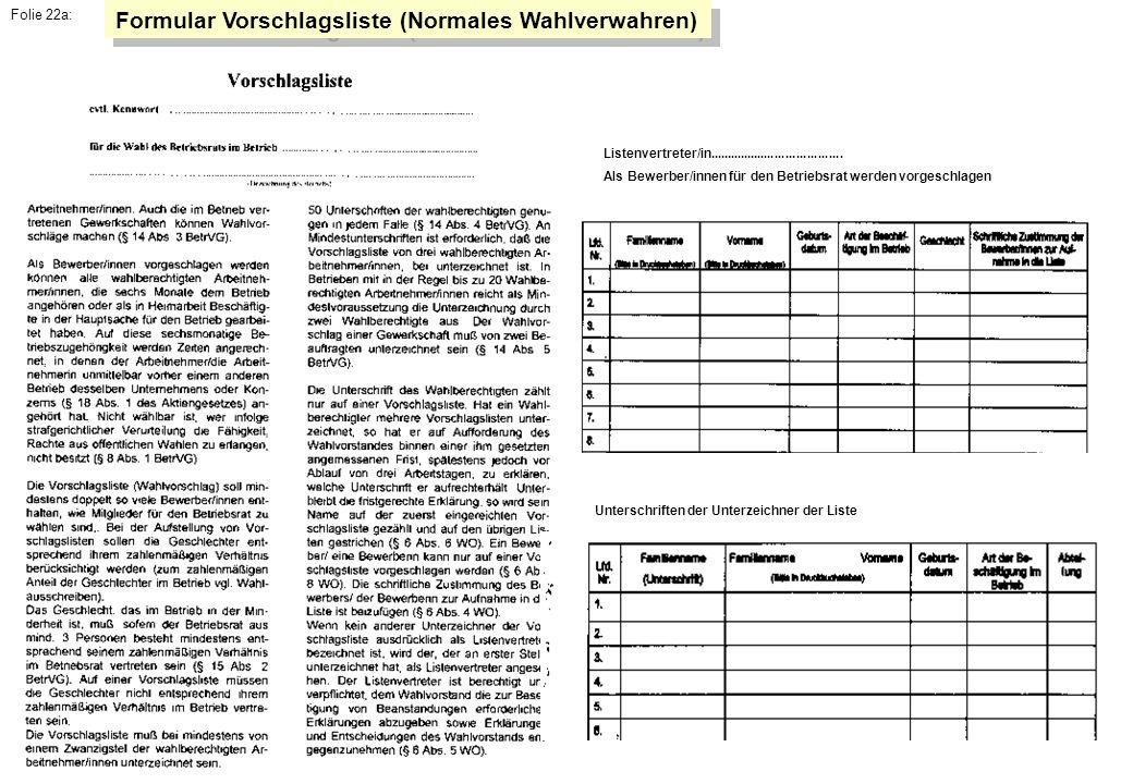 Formular Vorschlagsliste (Normales Wahlverwahren)