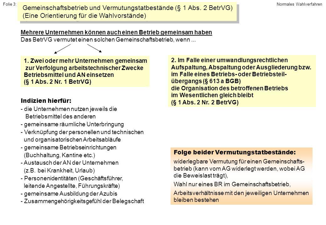 Gemeinschaftsbetrieb und Vermutungstatbestände (§ 1 Abs. 2 BetrVG)