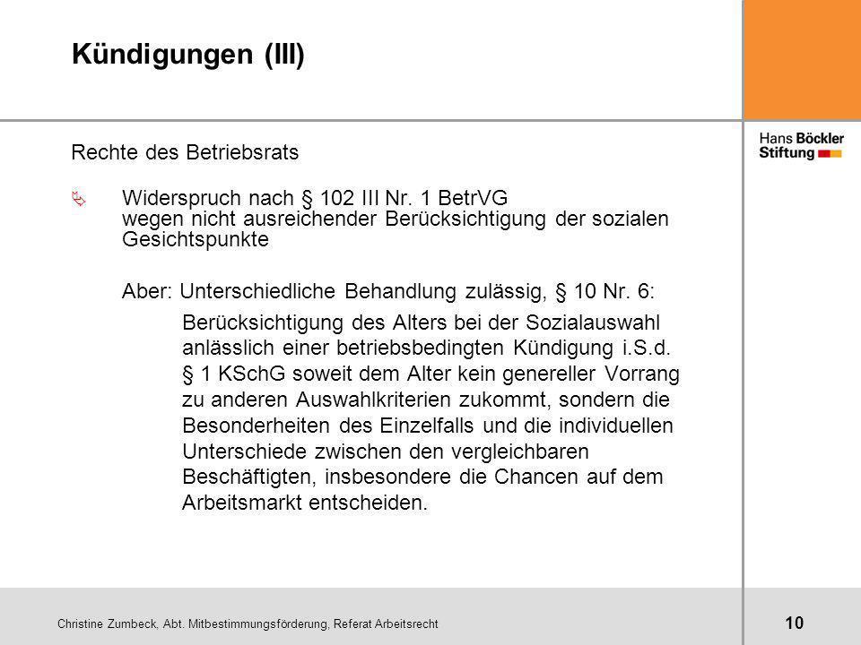 Kündigungen (III) Rechte des Betriebsrats
