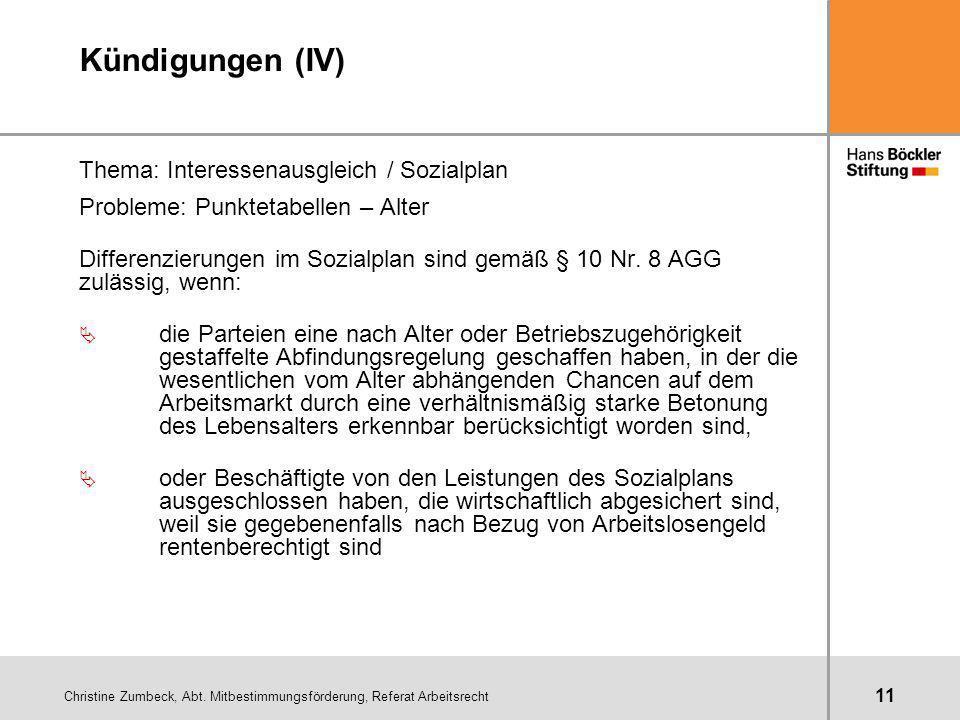 Kündigungen (IV) Thema: Interessenausgleich / Sozialplan