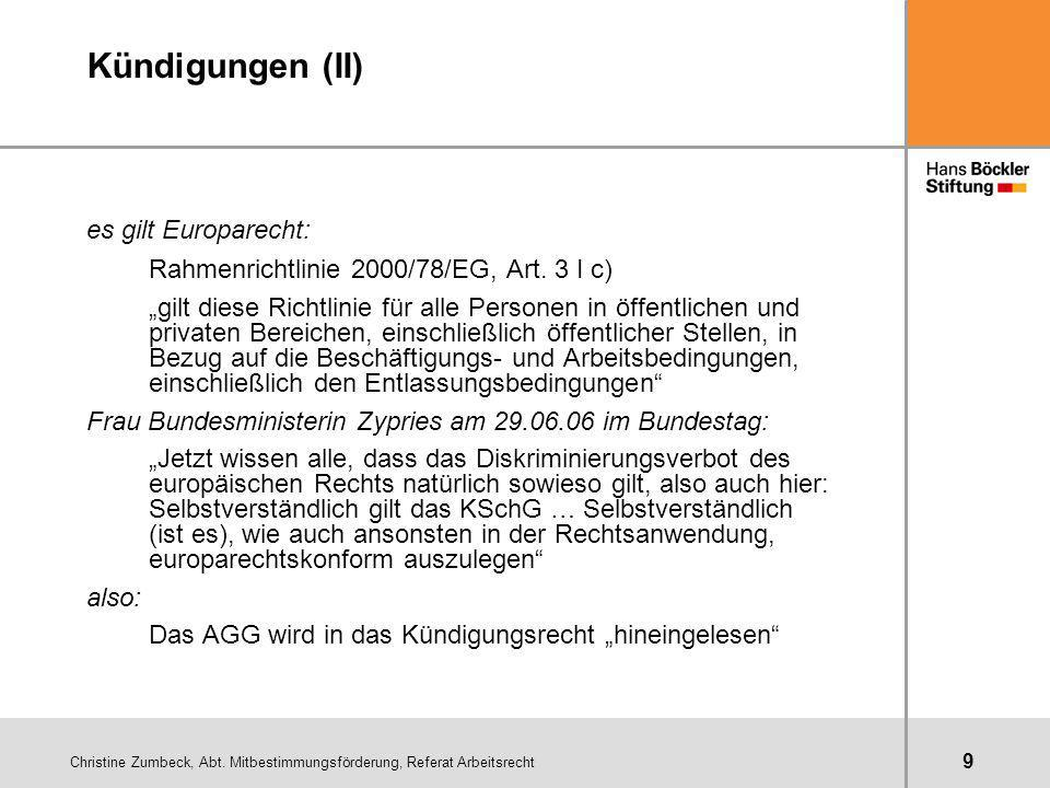 Kündigungen (II) es gilt Europarecht: