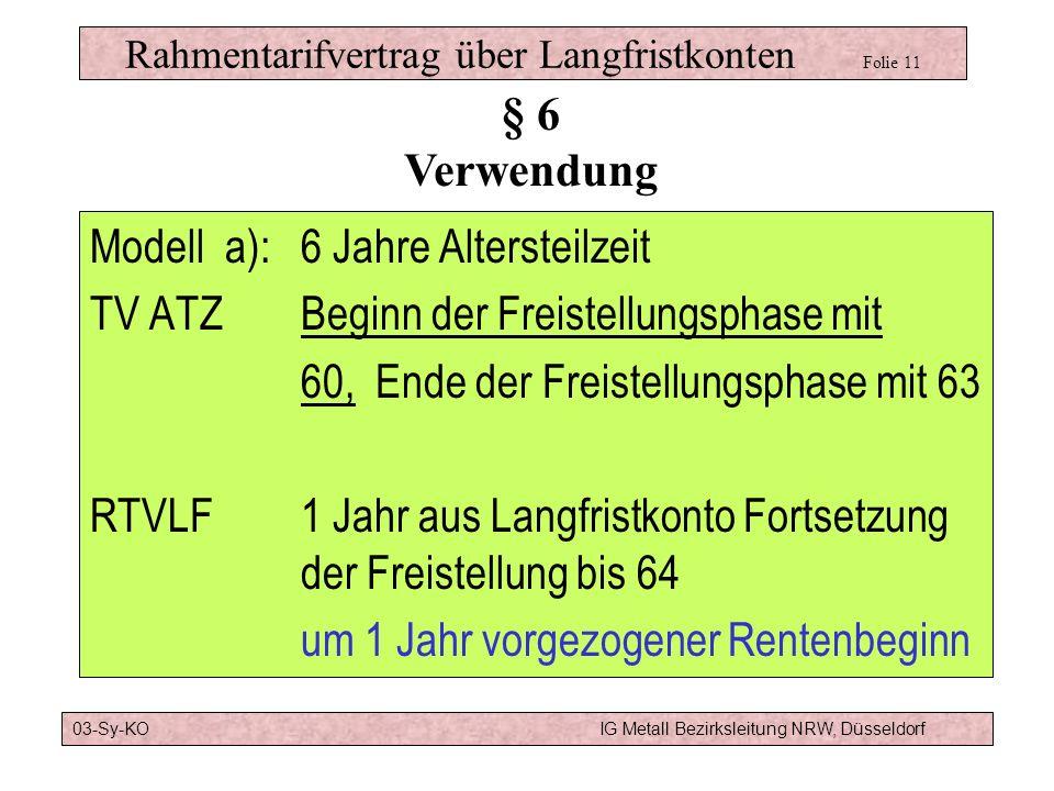 Rahmentarifvertrag über Langfristkonten Folie 11