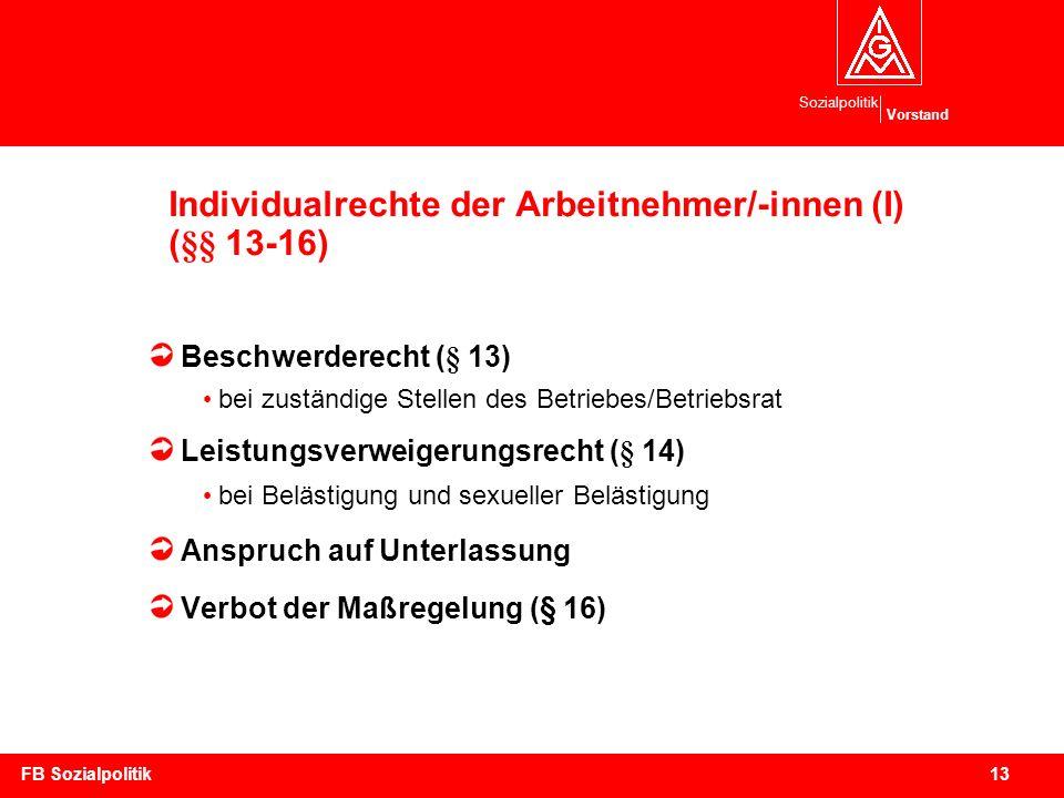 Individualrechte der Arbeitnehmer/-innen (I) (§§ 13-16)